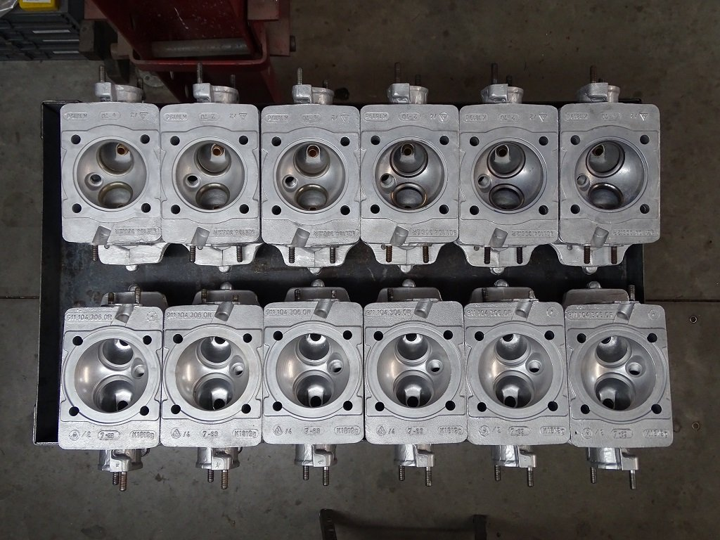 Lined up cylinder heads before resurfacing